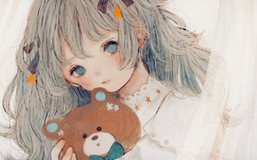 Picture girl, sweetheart, toy, bear