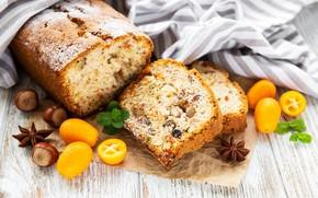 Picture table, nuts, cakes, cupcake, powdered sugar, raisins, Olena Rudo