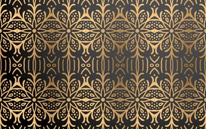 Picture gold, pattern, texture, black background, gold, ornament, background, color