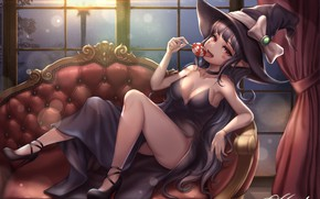 Picture girl, sofa, dungeon fighter, kie (wylee2212), female mage