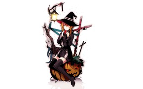 Picture girl, background, hat, witch, Halloween