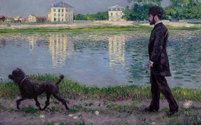 Picture French painter, Gustave Caillebotte, 1884, Gustave Caillebotte, French painter, oil on canvas, On the banks …