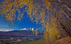 Picture autumn, the sky, leaves, trees, mountains, home, village