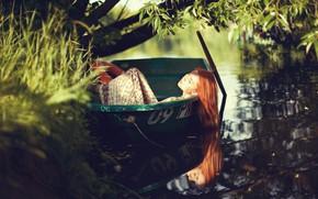 Picture summer, girl, nature, pose, river, boat, Olga Aprelskaya