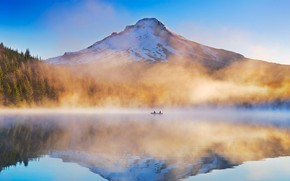 Picture fog, lake, boat, Oregon, USA, TRILLIUM, Mount Hood National Forest
