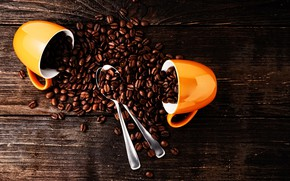Picture background, Board, coffee, Cup, yellow, grain, spoon