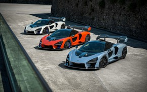 Picture McLaren, supercars, 2018, Senna, Victory Grey, Delta Red, Pure White