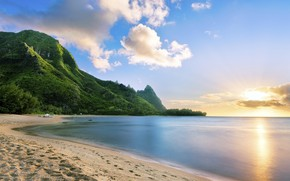 Picture sea, the sky, the sun, clouds, mountains, shore