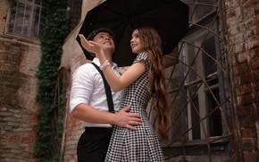 Picture girl, drops, house, rain, Windows, brick, umbrella, dress, hairstyle, pair, cap, shirt, brown hair, guy, …