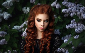 Picture look, girl, face, mood, hair, portrait, spring, makeup, red, flowering, redhead, curls, lilac, Andrew Stankūnas