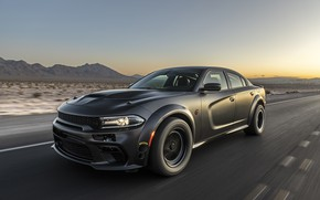 Picture sunset, speed, the evening, Dodge, Charger, AWD, 2019, SpeedKore, SEMA 2019, Twin Turbo Carbon