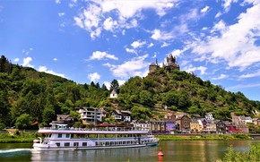 Picture the sky, the sun, clouds, trees, river, castle, mountain, home, Germany, ship, Cochem