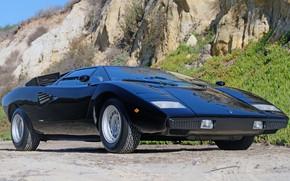 Picture black, Lamborghini, ventilation, supercar, V12, Countach, 1975, air intakes, mid-engined, LP400, 4 L., Periscope