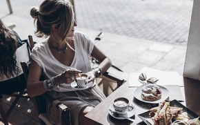 Picture summer, girl, mood, coffee, cafe, buns