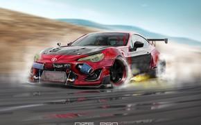 Picture Auto, Machine, Speed, Sparks, Toyota, Art, Rendering, GT86, Toyota GT86, GT-86, Toyota GT-86, Dmitry Strukov, …