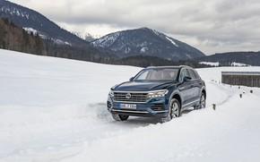 Picture winter, auto, mountains, Volkswagen, Touareg