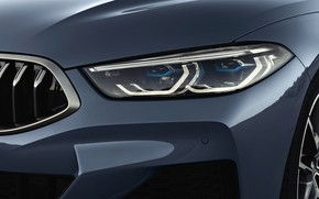 Picture coupe, headlight, the hood, BMW, grille, bumper, Coupe, 2018, the front part, gray-blue, 8-Series, pale …