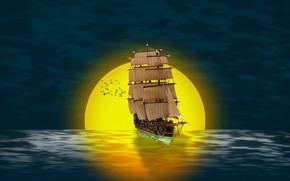 Picture sea, the sun, sunset, birds, ship, sailboat