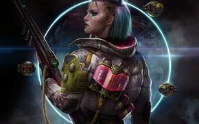 Picture girl, weapons, fiction, tattoo, profile, art, cyberpunk, Sci-Fi