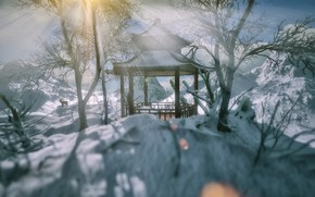 Picture winter, rays, light, snow, trees, branches, Park, rendering, hills, deer, Asia, the snow, shadows, gazebo, …