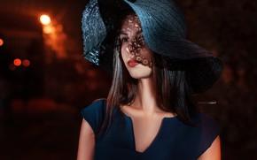 Picture portrait, Girl, hat, dress, shoulders, Alexander Drobkov-Light, Tatiana Svetlova