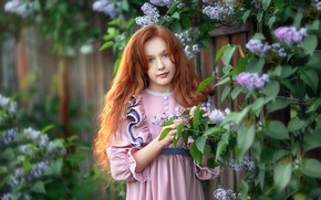 Picture look, nature, dress, girl, red, lilac, bokeh, Anastasia Barmina