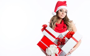 Picture girl, New Year, gifts, white background, cap, box