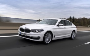 Picture road, white, BMW, the fence, sedan, hybrid, 5, four-door, 2017, 5-series, G30, 530e iPerformance