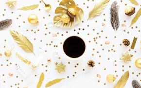 Picture holiday, New year, golden, Star, Christmas, Coffee, decor, decoration, Valeria Maksakova