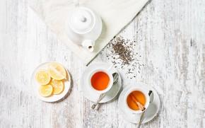 Picture table, lemon, tea, kettle, Cup, cinnamon, welding, saucers, spoon