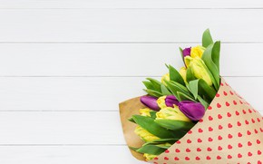 Picture flowers, colorful, tulips, yellow, flowers, beautiful, tulips, spring, purple, multicolored
