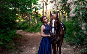 Picture girl, nature, pose, horse, beautiful, Alexander Polyakov