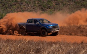 Picture blue, Ford, dust, Raptor, pickup, 2018, Ranger, dirt road