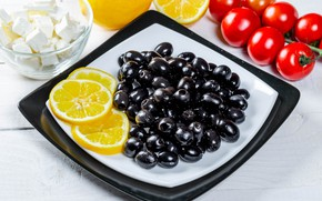 Picture photo, Olives, Tomatoes, Food, Lemons