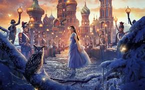 Picture girl, snow, bridge, owl, bird, fantasy, soldiers, poster, Palace, owl, Walt Disney, Mackenzie Foy, Mackenzie ...