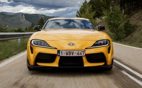 Picture road, yellow, coupe, Toyota, front view, Supra, the fifth generation, mk5, double, 2019, GR Above, …