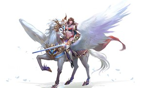 Wallpaper horse, the game, wings, warrior, art, pers, MMORPG, driving, Free Game, Browser Game