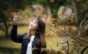 Picture leaves, girl, branches, smile, Asian, cutie, bokeh