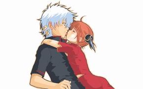 Picture language, white background, shock, Gintama, Sakata Gintoki, Kagura, almost kiss, Gintama, Гинтоки You Want, redhead …