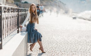 Picture look, girl, pose, fence, pavers, long hair, Nick Wakaluk, Julia Khandogin-Baryshnikov