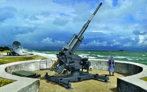 Picture sea, wave, Germany, soldiers, Luftwaffe, Würzburg, Shells, Radar, Anti-aircraft gun, Flak 40