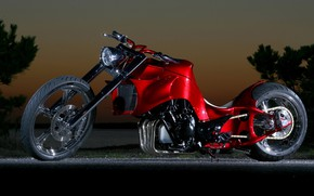 Picture Red, Chopper, Custom, Motorcycle