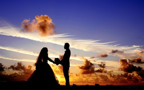 Picture the sky, girl, sunset, romance, dress, male, lovers, the bride, wedding