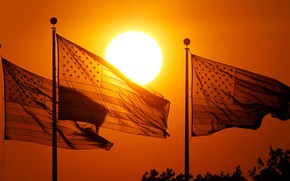Picture sunset, USA, flags, New Jersey, Jersey City, Park Liberty State