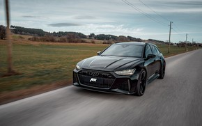 Picture Audi, black, highway, ABBOT, universal, RS 6, 2020, 2019, V8 Twin-Turbo, RS6 Avant, 700 HP