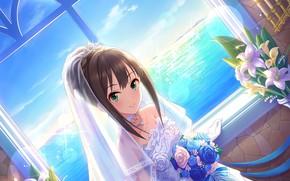 Picture sea, Lily, horizon, window, the bride, Diadema, veil, wedding dress, blue sky, the bride's bouquet, …