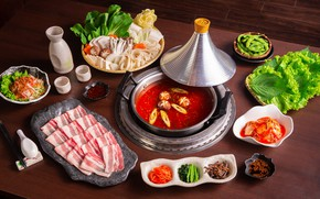 Picture soup, meat, vegetables, sauce, Chinese