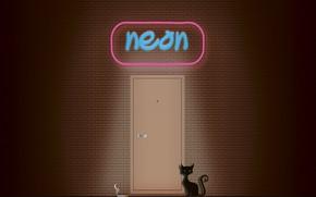 Picture cat, wall, smoke, neon, cigarette, sign, black cat, brick wall, neon sign, brickwork, Neon black …