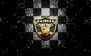 Picture wallpaper, sport, logo, NFL, glitter, checkered, Oakland Raiders