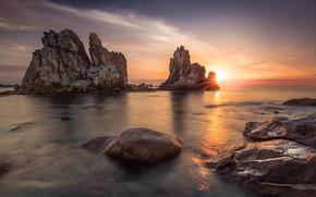Picture sea, the sky, the sun, clouds, light, sunset, stones, rocks, shore, coast, tops, France, beauty, …